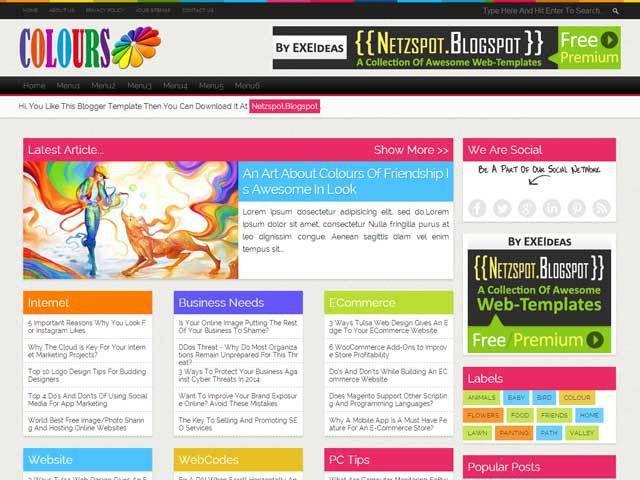 Colours: A Free Premium Responsive Blogger Template - EXEIdeas ...