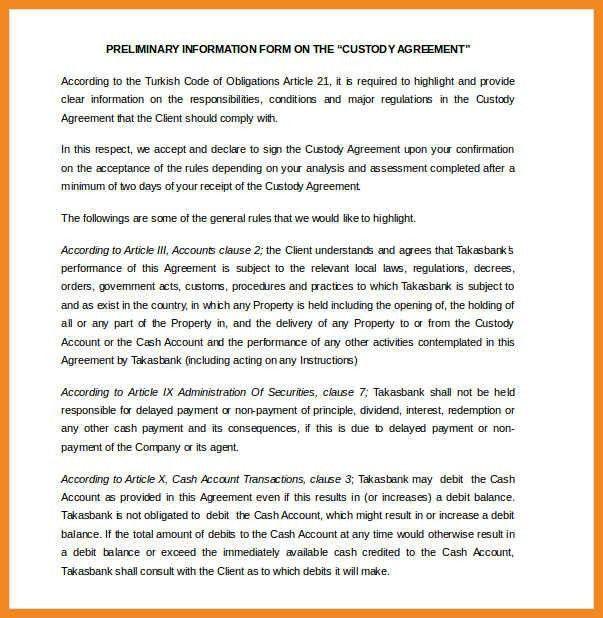 custody agreement example   art resume examples