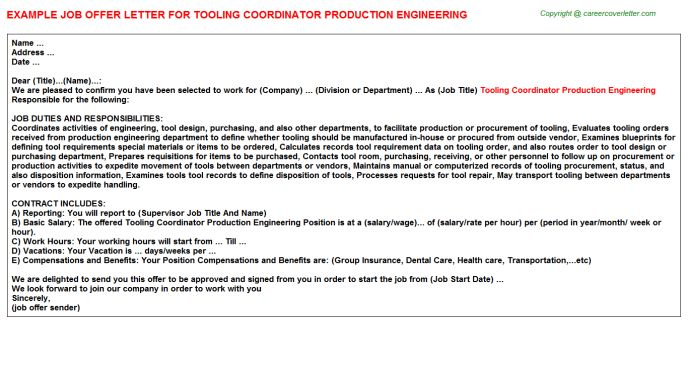 tooling coordinator production engineering offer letter. 3 with ...