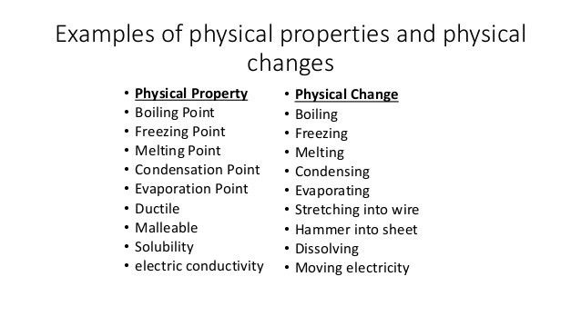 PHYSICAL CHANGE EXAMPLES - alisen berde