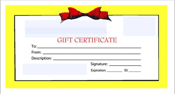 Cute Gift Certificate Template Sample with Red Bow and Yellow ...