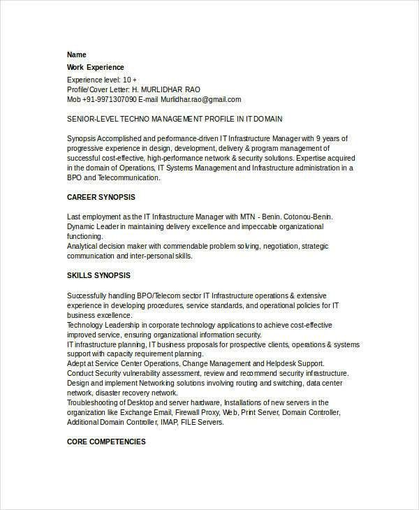 resume it infrastructure manager resume. technical infrastructure ...