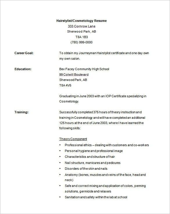 Resume For Cosmetology 15 Cosmetology Resumes Cosmetologist Resume ...