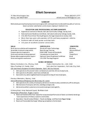 Cable lineman resume