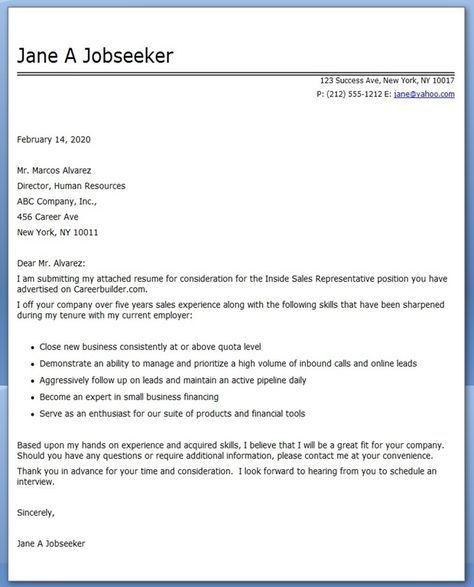 100+ [ Inside Sales Representative Cover Letter ] | Professional ...