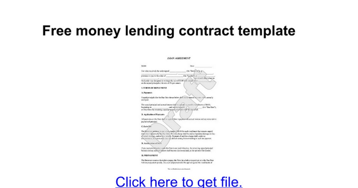 Free money lending contract template - Google Docs
