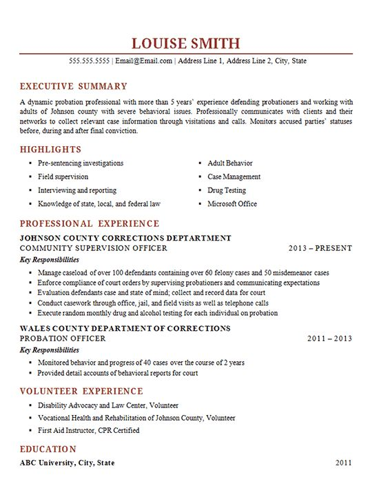 Probation Officer Resume Example - Corrections Supervisor