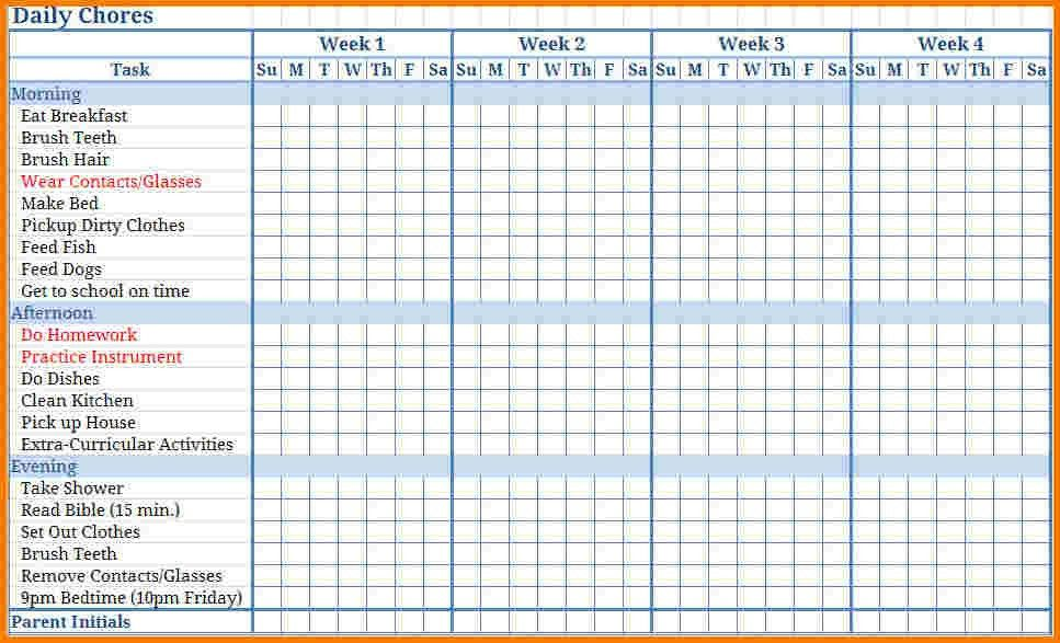4 chore chart template | Receipt Templates