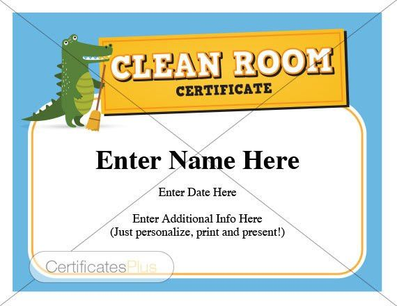 Kid Certificate Clean Room Award child certificates Kids