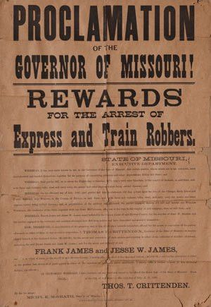 Frank and Jesse James wanted poster for sale this Saturday ...