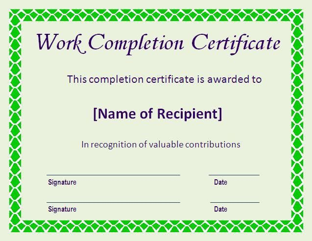Certificate of Completion Template | Certificate Templates