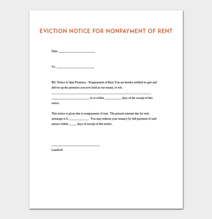 Blank Eviction Notice Eviction Notice Template  Free Word Pdf