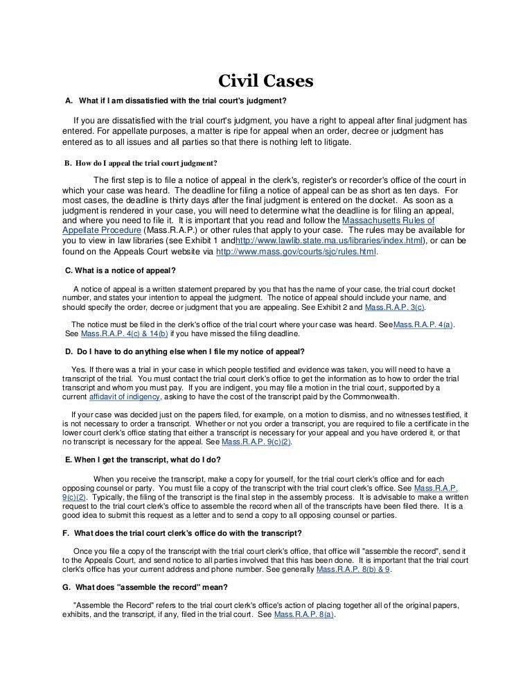 Mass. court of appeals website info
