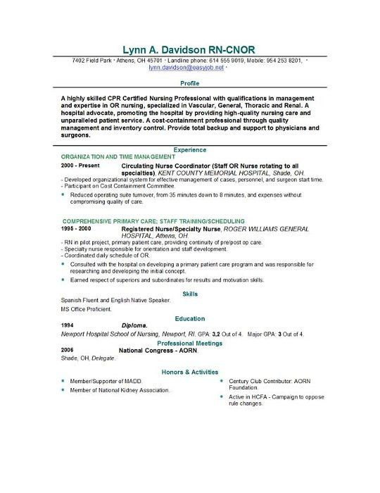 New Grad Nursing Resume Template
