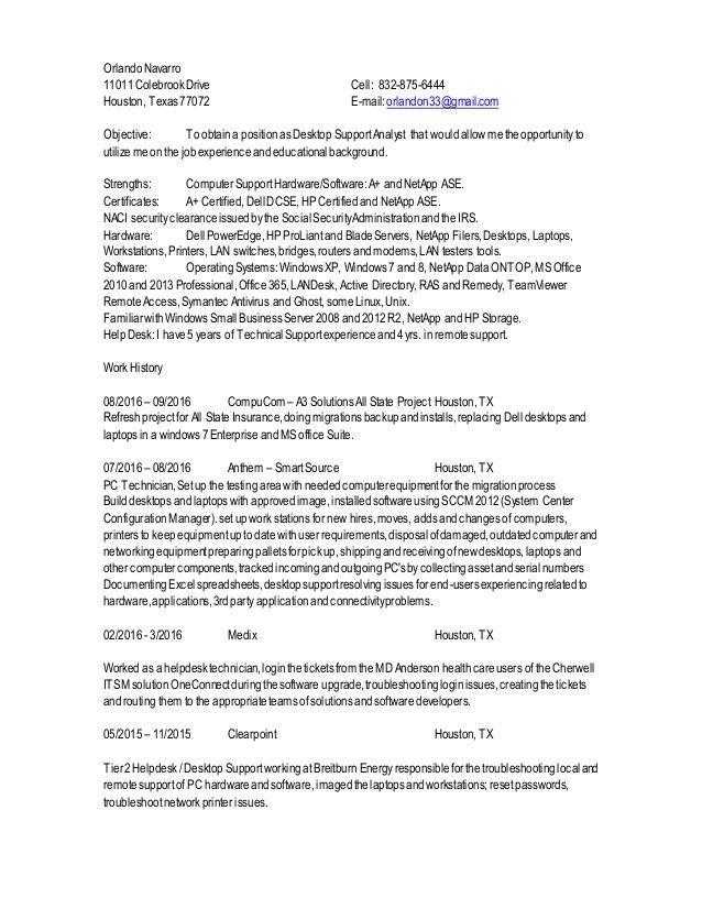 0N Desktop Support Analyst resume