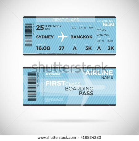 Airline Boarding Pass Economy Class Ticket Stock Vector 412179580 ...