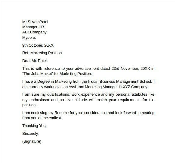 Sample Marketing Cover Letter Template 9 + Download Free Documents ...