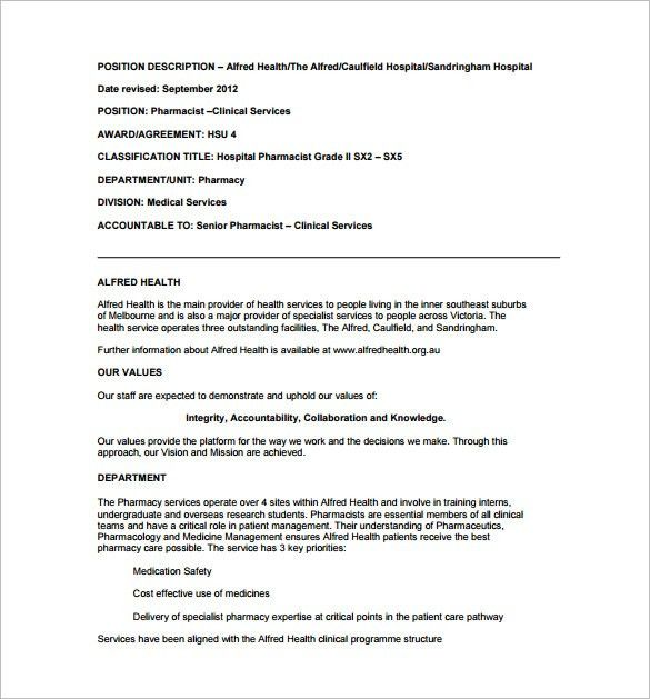 Pharmacist Job Description Template – 10+ Free Word, PDF Format ...