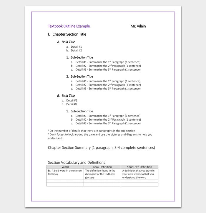 College Textbook Chapter Outline Template | Outline Templates ...
