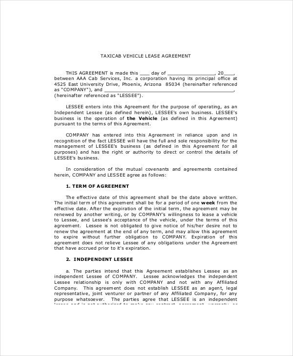 8+ Vehicle Lease Templates - Free Sample, Example, Format | Free ...