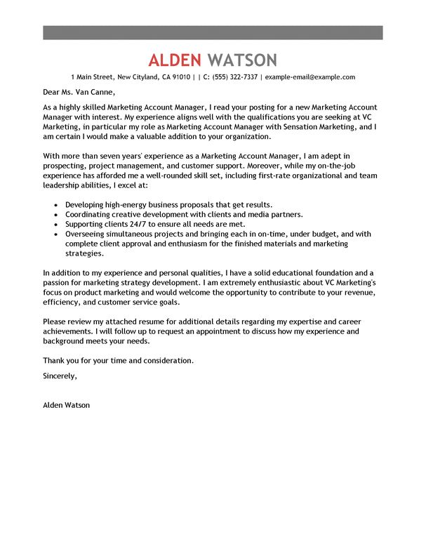 Vendor Relations Manager Cover Letter