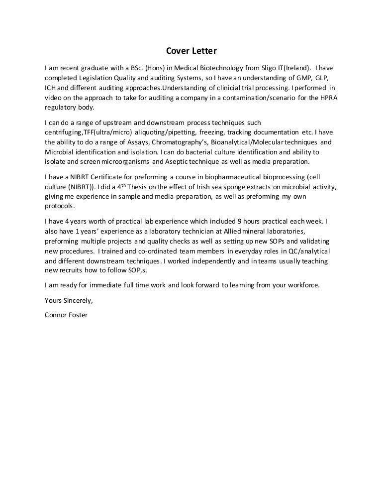sample biotech cover letter 13 sample cover letter for bio tech ...