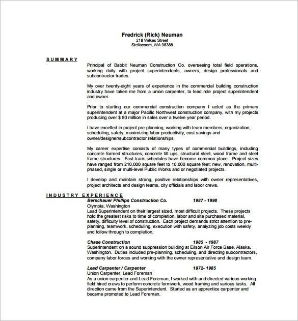 carpenter resume template 8 free word excel pdf format - Carpenter Resume Sample