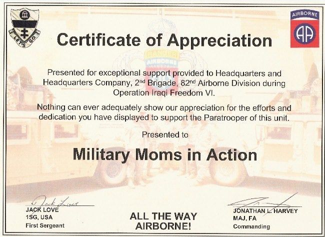 sample certificate of appreciation wording