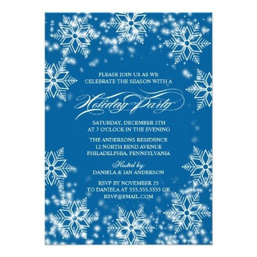 A holiday party invitation featuring wintry white snowflakes ...