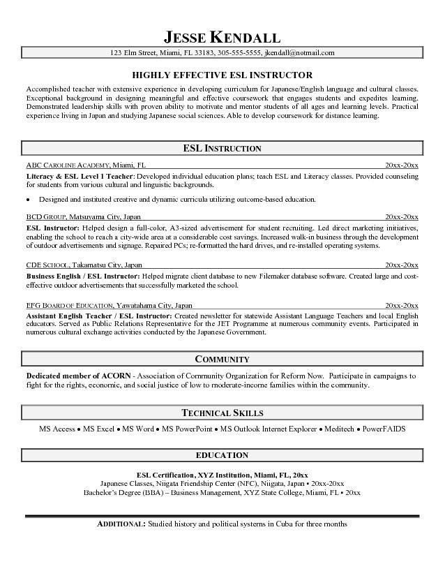 Free ESL Instructor Resume Example