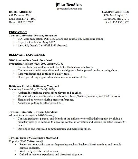 Sample College Student Resume No Work Experience Sample College ...