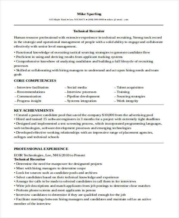 technical recruiter resume samples corporate recruiter resume ...