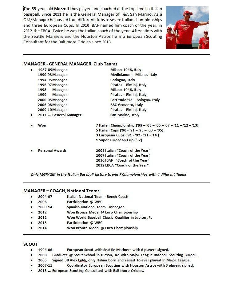 baseball resume coach resume template 6 free word pdf document