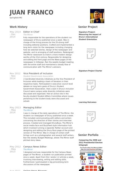 Editor In Chief Resume samples - VisualCV resume samples database