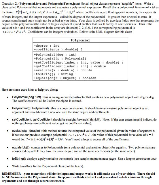 Question 2. (Polynomial Java And Polynomial Tester... | Chegg.com