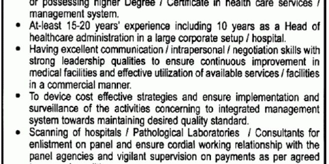 Chief Medical Officer Job in Pakistan Steel