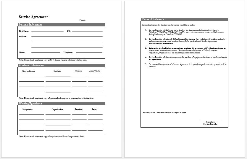 agreement form template