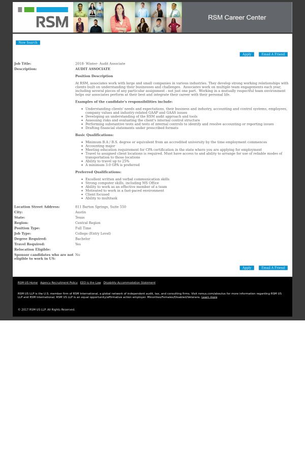 2018 - Winter - Audit Associate job at RSM in Austin, TX | Tapwage ...