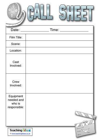 Call Sheet | Teaching Ideas