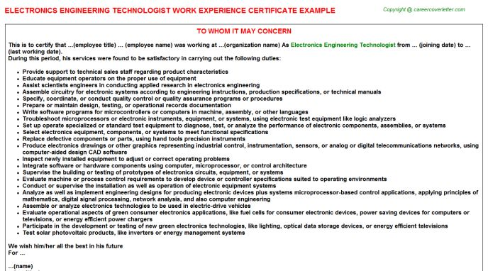 Electronics Engineer Work Experience Letters