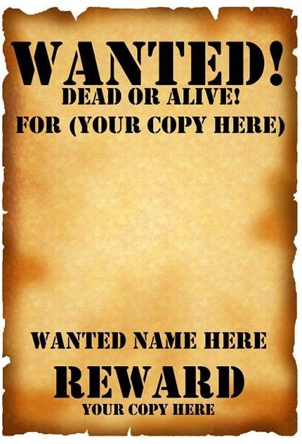 Free Wanted Poster Template For Kids | Calendar Picture Templates