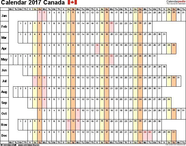 Canada Calendar 2017 - free printable Excel templates