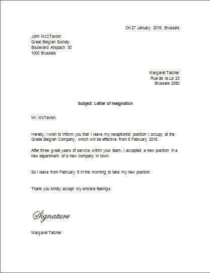 Resignation Letter Format: Unique Ideas Microsoft Word Resignation ...