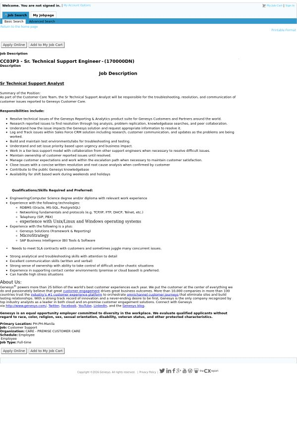 Cc03p3 - Senior Technical Support Engineer job at Genesys in ...