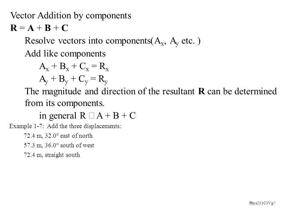 Phys211C1V p1 Vectors Scalars: a physical quantity described by a ...