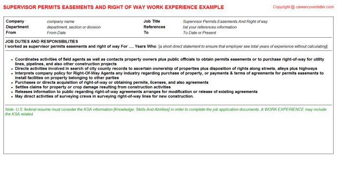 Supervisor Permits Easements And Right Of Way Job Title Docs