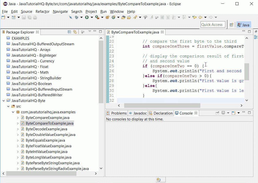Java Byte compareTo() method example