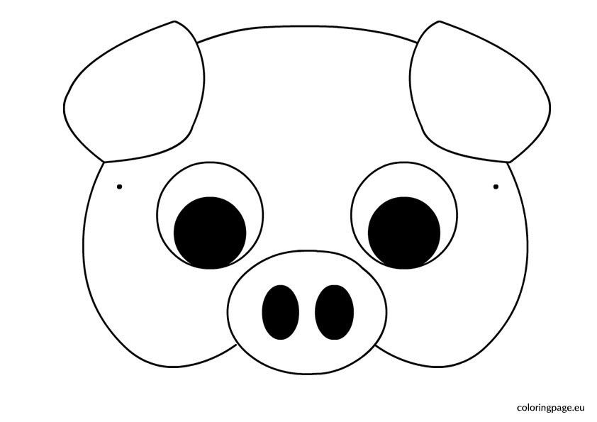 Pig mask template | Coloring Page