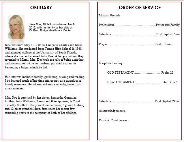 Best Photos of Memorial Service Program Template - Funeral Program ...