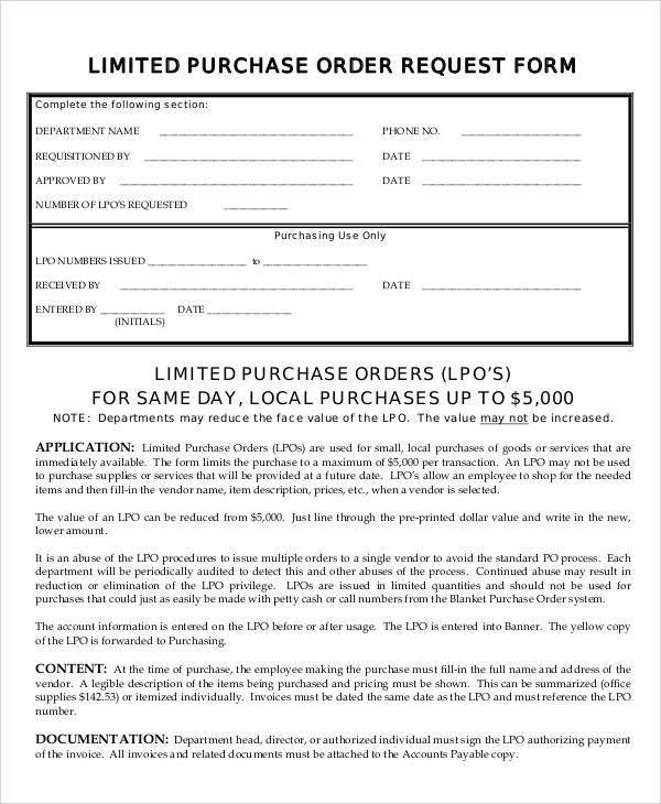 Sample Purchase Order Request Form -8+ Examples in Word, PDF